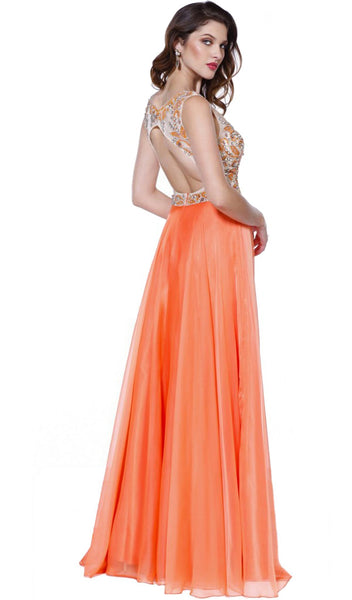 Beaded Embroidery Illusion Evening Gown - ADASA