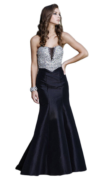 Strapless Sparkling Sequined Sweetheart Long Mermaid Dress