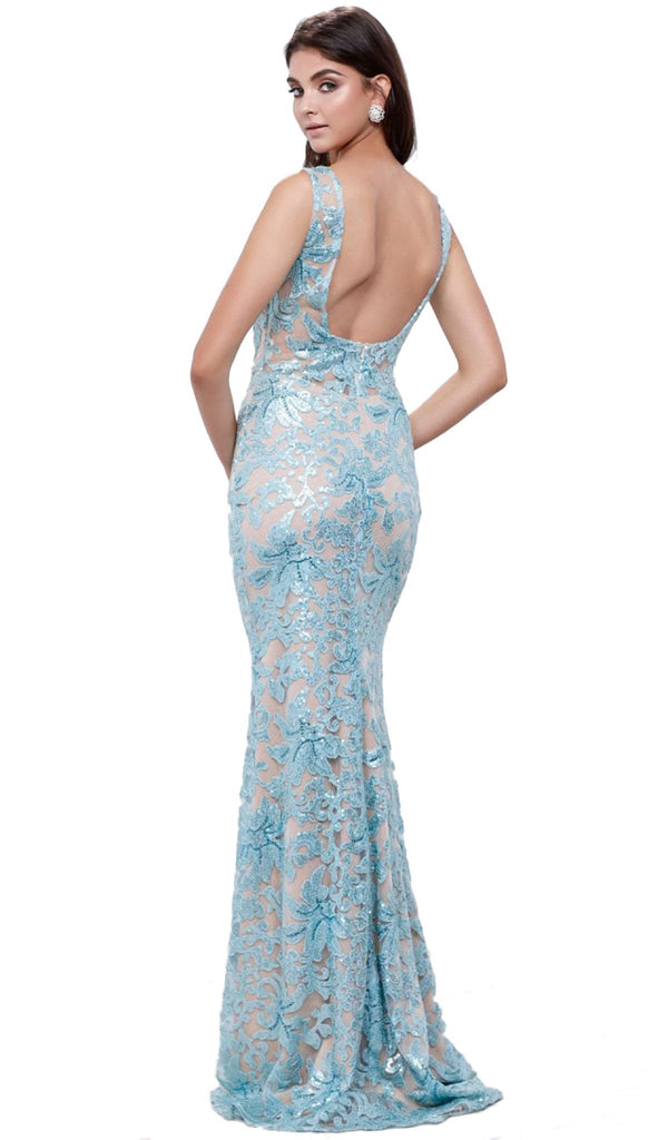 Nox Anabel - 8260 Sleeveless Sequined Lace Evening Dress