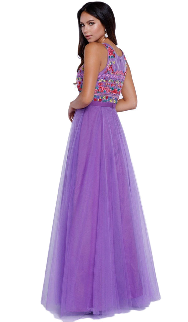Nox Anabel - 8263 Floral Embroidered Bateau Chiffon Evening Dress