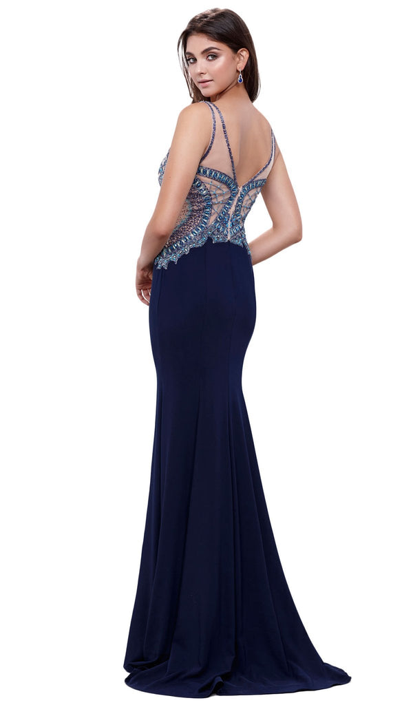 Nox Anabel - 8264 V-Neck Beaded Lace Illusion Evening Dress