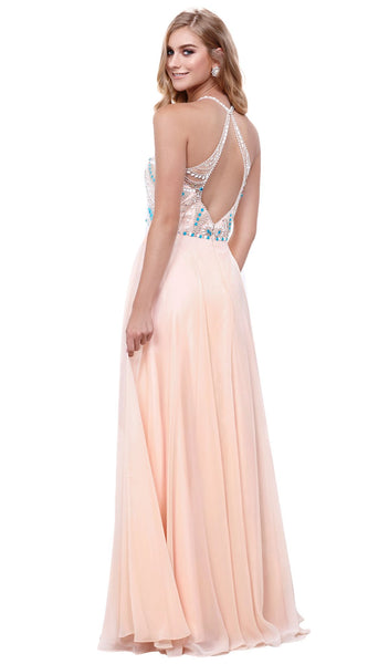 Sleeveless Bejeweled Halter A-line Dress