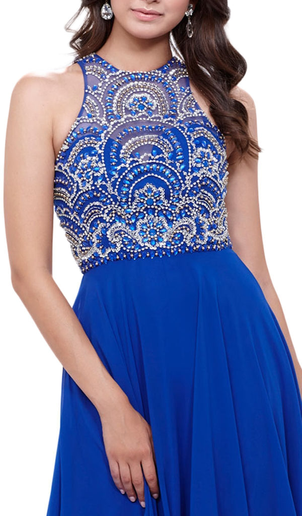Nox Anabel - 8277 Sleeveless High Neck Beaded Bodice A-line Dress