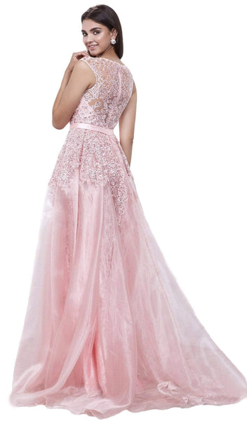 Nox Anabel - 8282 Sleeveless Sheer Illusion Evening Dress