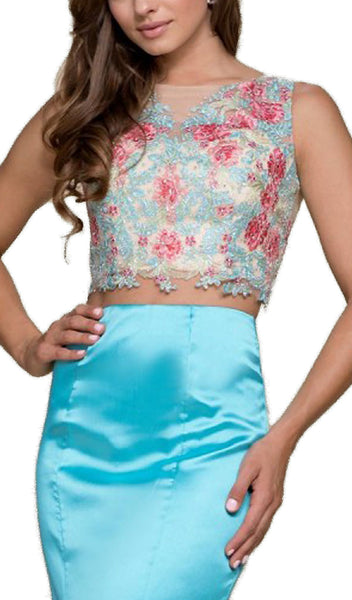 Nox Anabel - 8287 Two-Piece Crop Top Floral Lace Long Dress