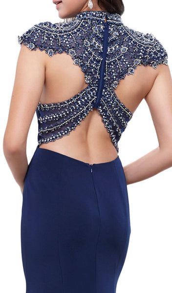 Beaded Crisscrossed Open Back Evening Gown - ADASA