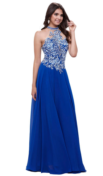 Nox Anabel - 8305 High Halter Neck Floral A-line Evening Gown