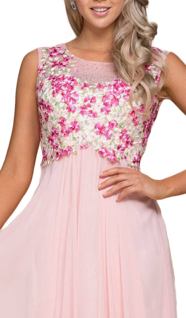 Nox Anabel - 8306 Floral Applique Illusion Bateau A-line Dress
