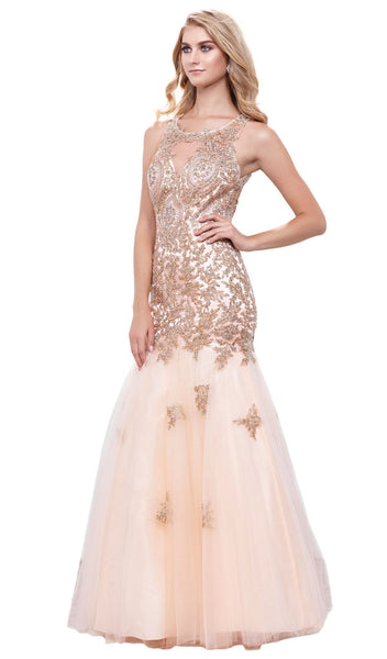 Nox Anabel - 8308 Gold Embellished Illusion Jewel Trumpet Dress