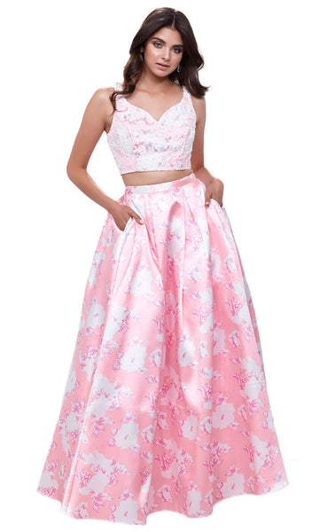 Two-Piece Wide V-Neckline Floral A-line Evening Gown