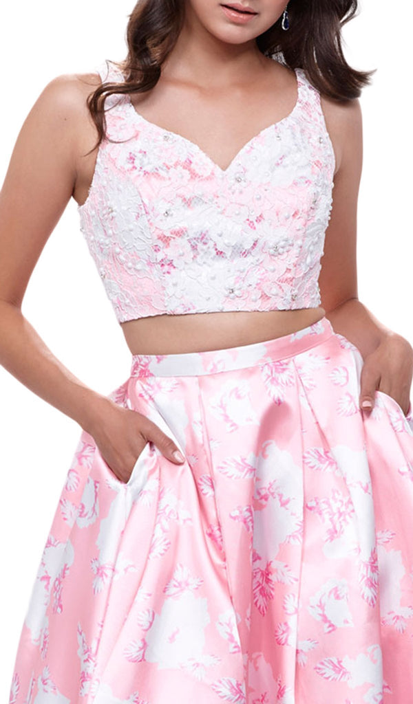 Nox Anabel - 8312 Two-Piece Wide V-Neckline Floral A-line Evening Gown