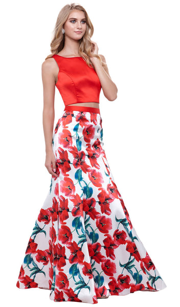 Two-Piece Sleeveless Floral Trumpet Evening Dress