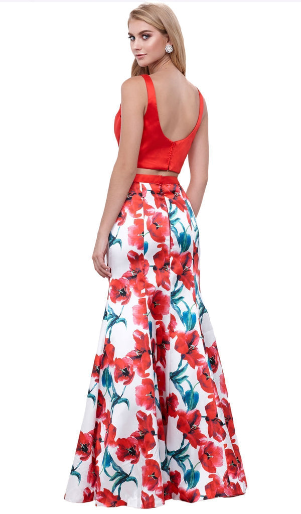 Nox Anabel - 8313 Two-Piece Sleeveless Floral Trumpet Evening Dress