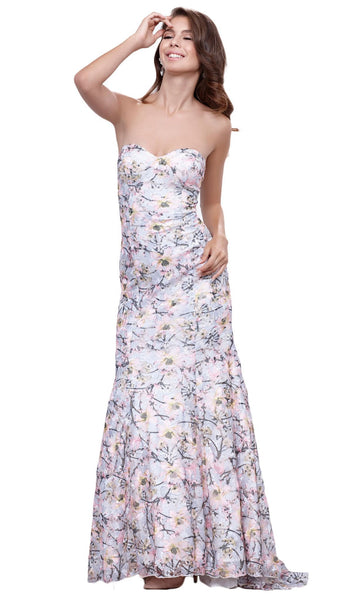 Strapless Sweetheart Floral Trumpet Evening Gown