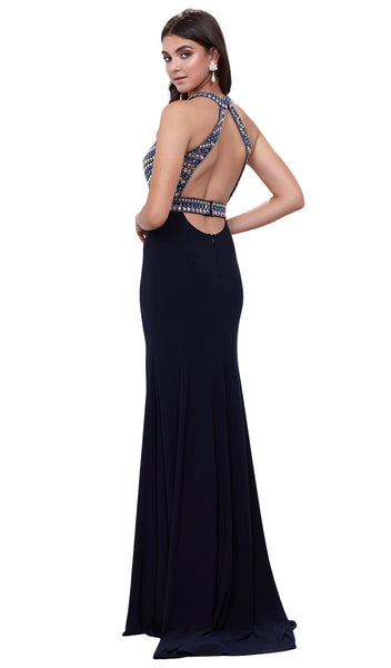 Rhinestone Embellished Halter Illusion Evening Gown