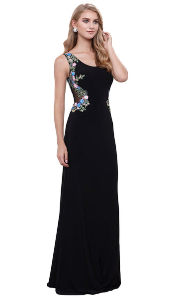 Sleeveless Scoop Neck Lace Appliques Evening Dress
