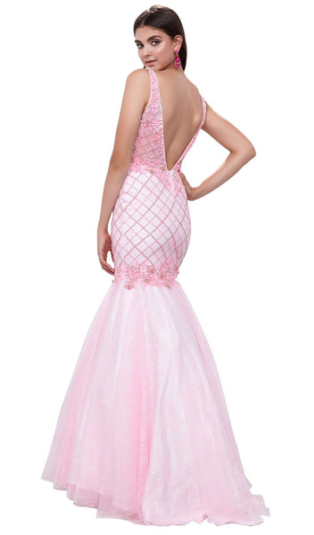 V-neck Embellished Mermaid Evening Gown