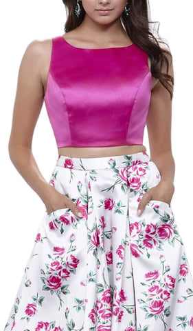 Bateau Neck Two-Piece Floral A-line Evening Gown - ADASA