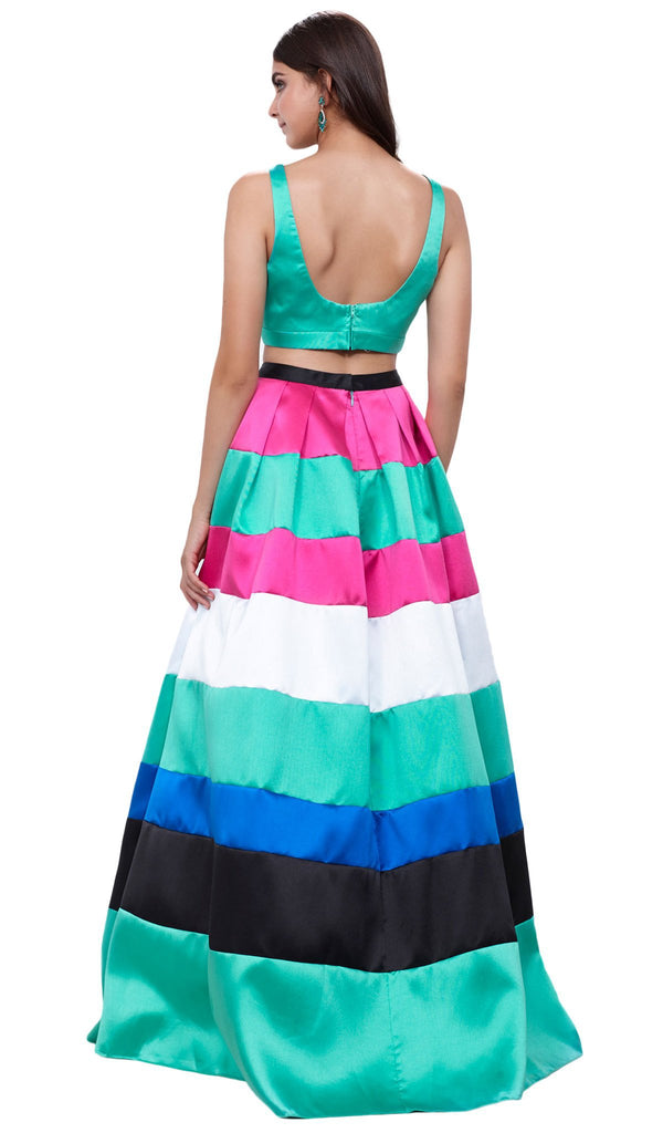 Two-Piece Bateau Mikado Evening Dress