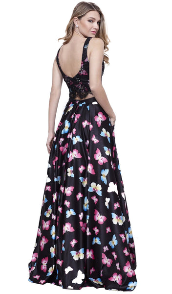 Two-Piece Bateau Butterfly Printed Evening Gown