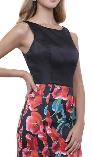 Nox Anabel - 8354 Sleeveless Floral Print Trumpet Evening Dress