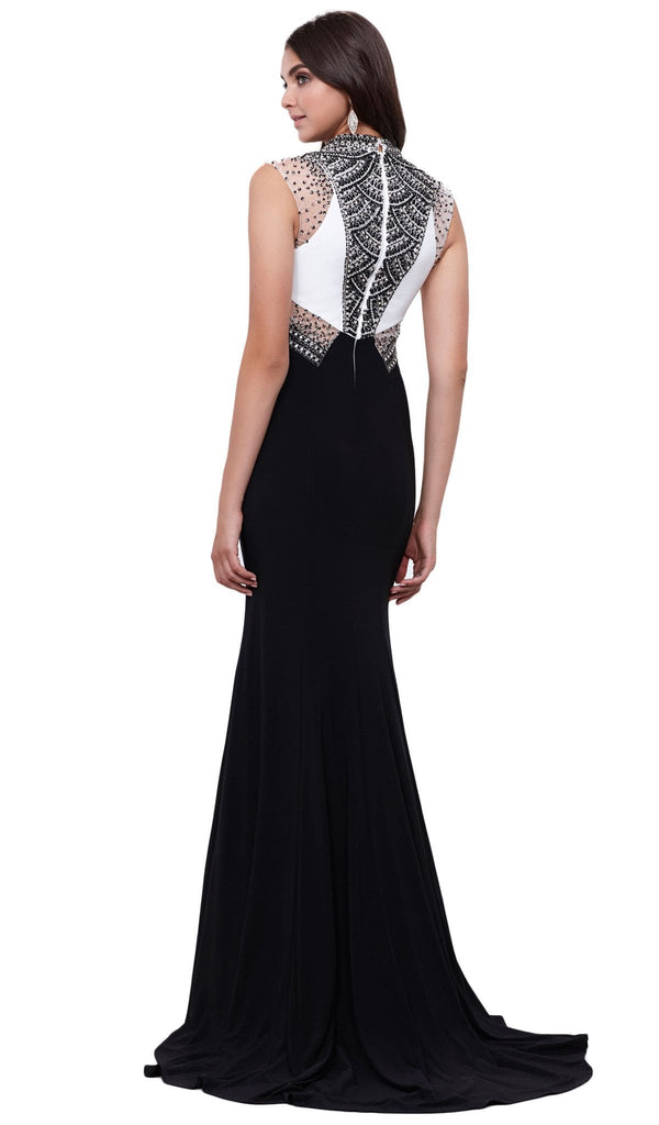 Contrast Jewel Illusion Paneled Evening Gown - ADASA