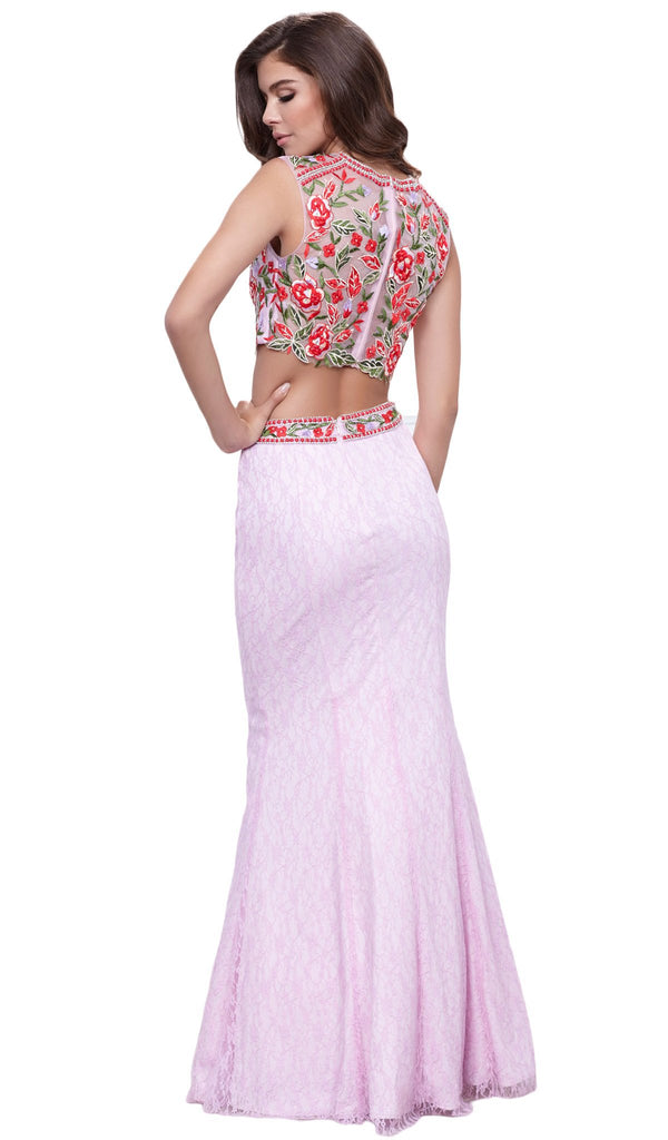Sleeveless Embellished High Neck Two-Piece Long Mermaid Dress
