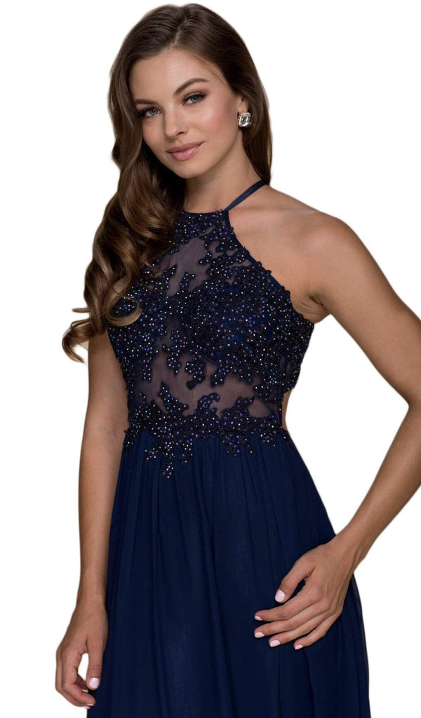 Nox Anabel - G096 Beaded Lace Halter Chiffon A-line Dress