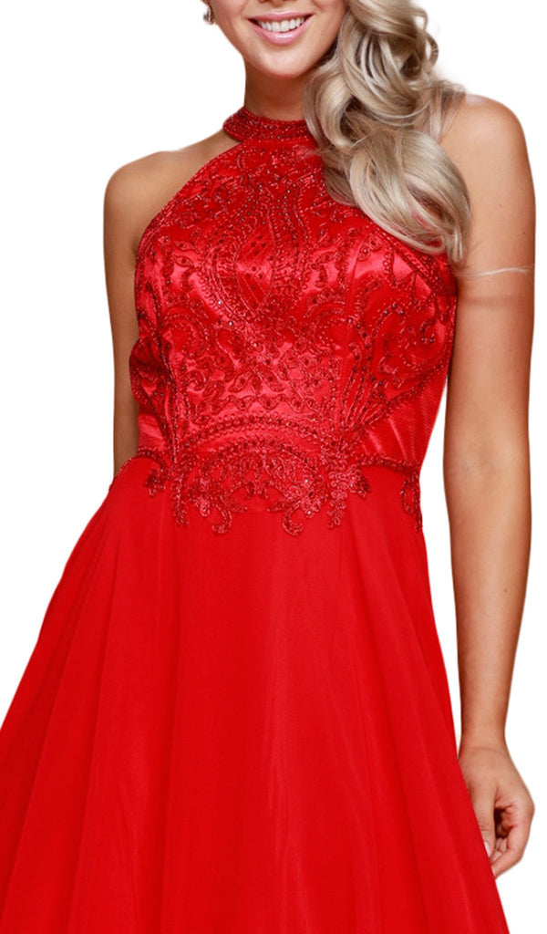 Embroidered Halter Chiffon A-line Dress