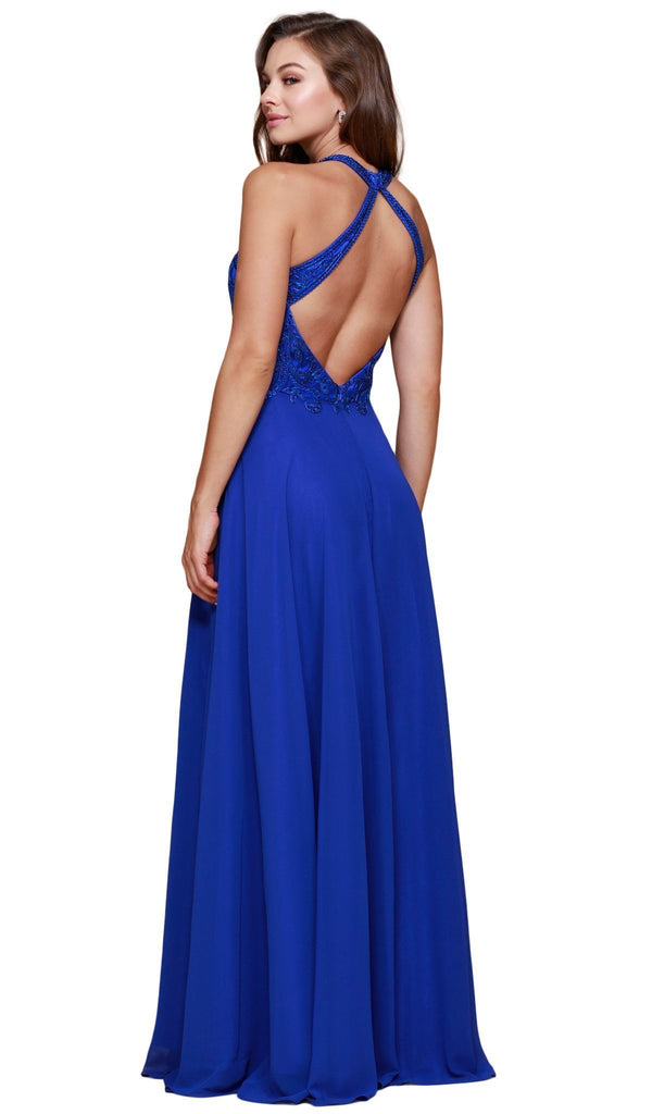 Nox Anabel - J117 Embroidered Halter Chiffon A-line Dress