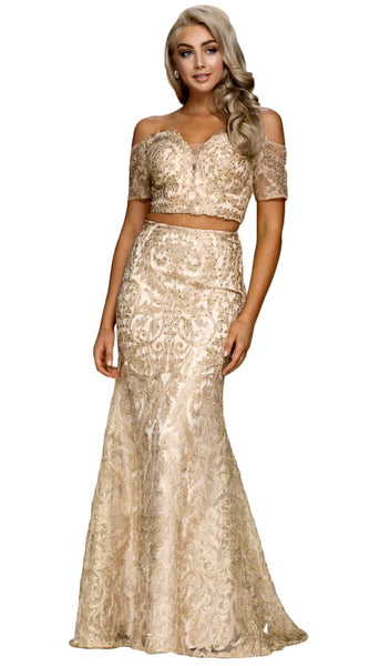 Off Shoulder Lace Two-Piece Sheath Gown