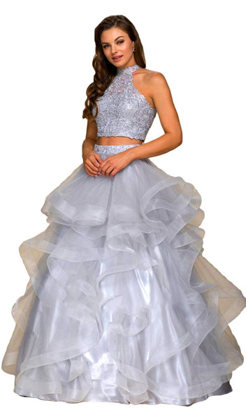 Lace Bodice Illusion High Neck Ballgown