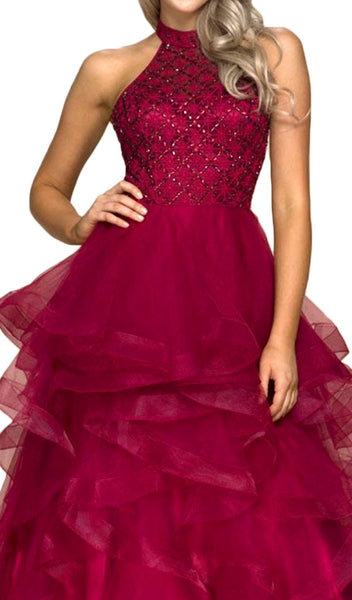 Lattice Beaded High Halter Tulle Ballgown