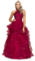 Jeweled Lace Applique Quinceañera Ballgown