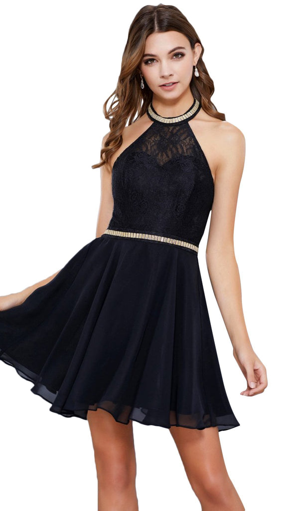 Illusion High Halter Lace Cocktail Dress
