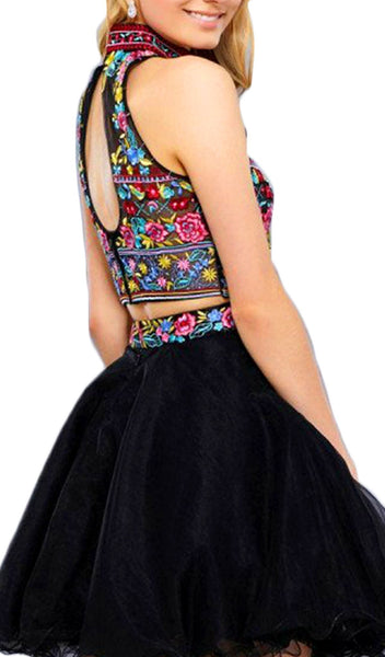 Nox Anabel - 6272 Halter Illusion Cutout Floral Cocktail Dress