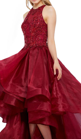 Bejeweled Lace Bodice High-Low Tulle Gown - ADASA