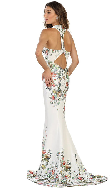 Deep V-Neck Floral Print Mermaid Evening Gown