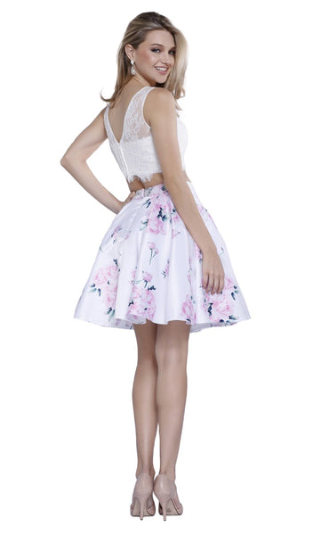 Nox Anabel - 6221 Two-Piece Bateau Floral A-Line Cocktail Dress