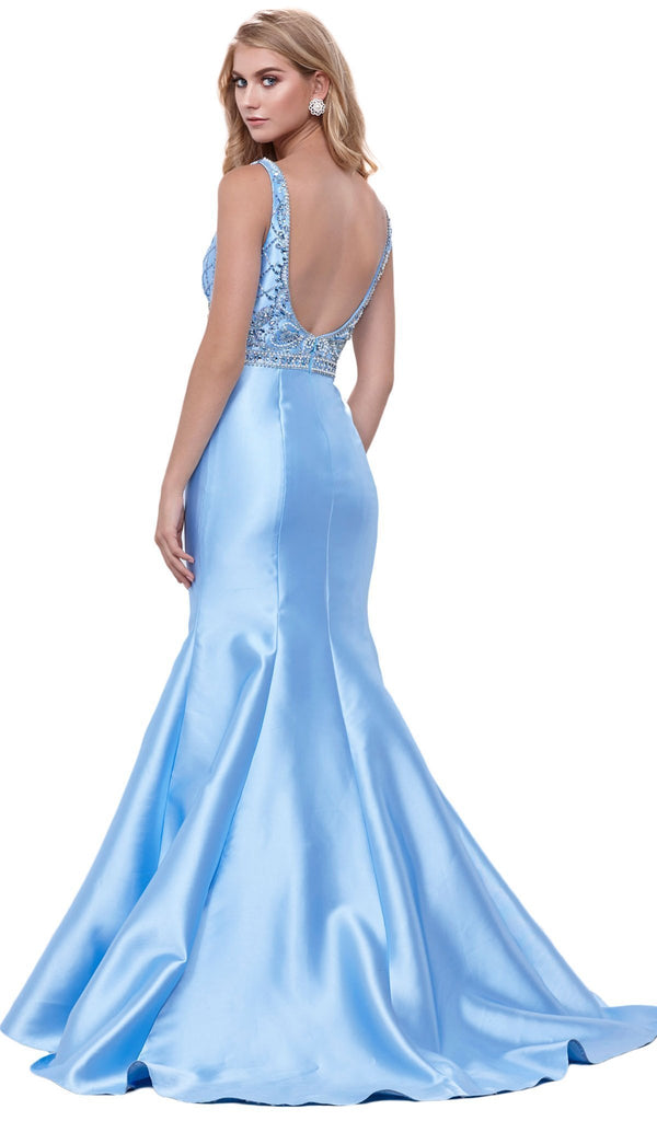 Nox Anabel - 8307 Sleeveless V-Neck Beaded Bodice Trumpet Gown