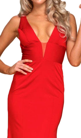 Plunging V-neck Sheath Dress