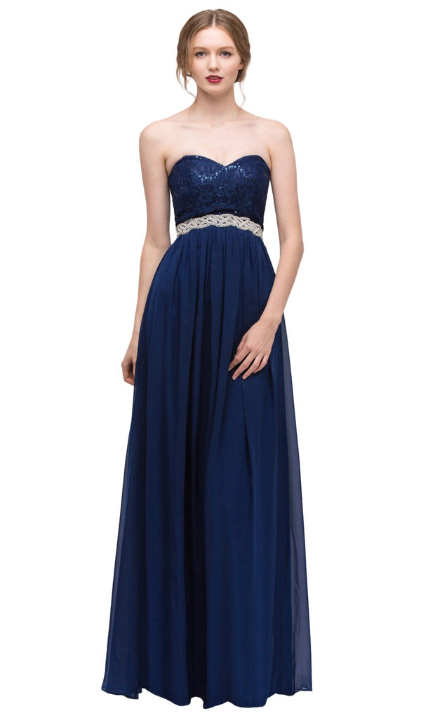 Strapless Sequined Lace Bodice A-Line Gown