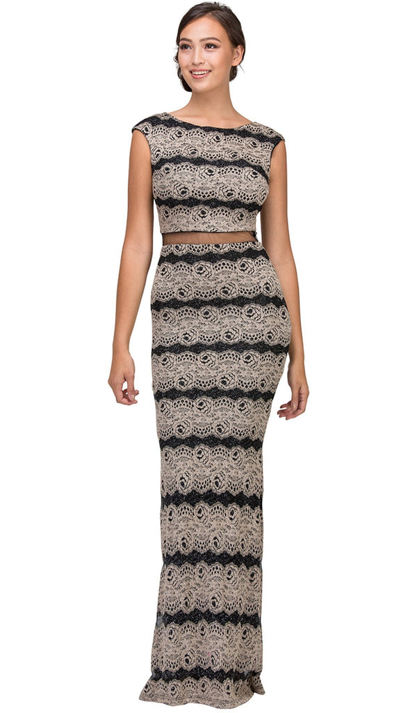 Cap Sleeve Striped Metallic Mesh Sheath Evening Dress - ADASA