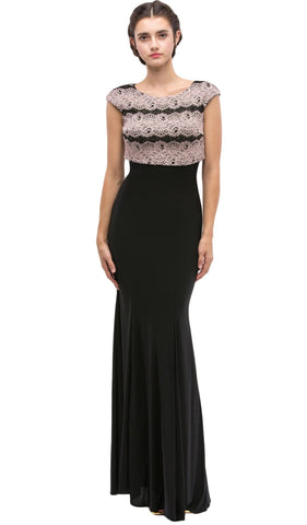 Lace Cap Sleeve Bateau Jersey Sheath Evening Dress