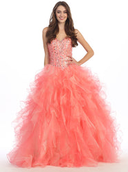 Beaded Lace Plunging Sweetheart Quinceanera Ballgown