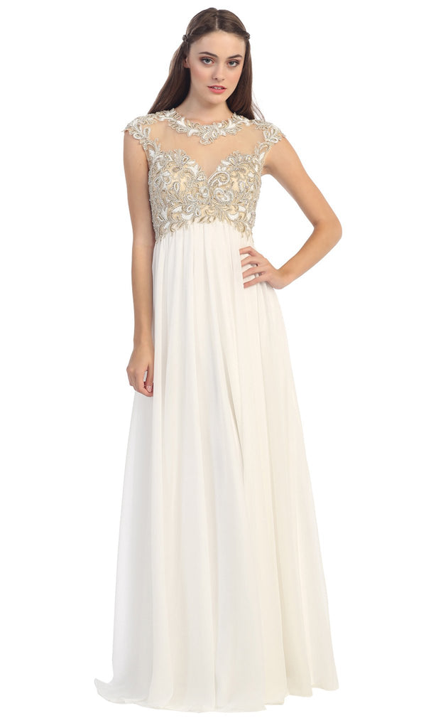 Cap Sleeve Illusion Beaded Lace A-Line Evening Gown - ADASA