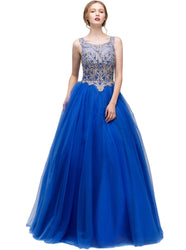 Beaded Bateau Neck Stretch Satin Evening Gown