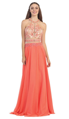 Illusion Mesh Beaded High Halter Chiffon Evening Gown