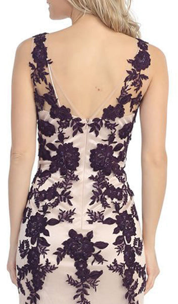 Illusion Bateau Floral Embroidered Trumpet Dress