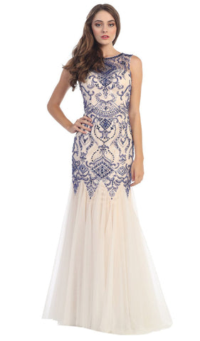Bateau Neck Embellished Mermaid Evening Gown - ADASA
